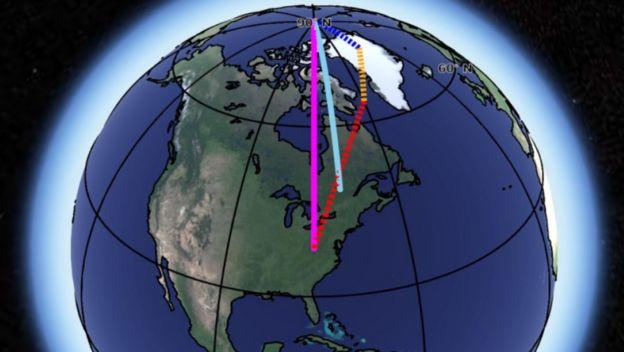 ภาพแสดงแนวการเคลื่อนที่ของแกนหมุนโลก เส้นสีฟ้าอ่อนคือแกนหมุนเดิม ส่วนเส้นสีชมพูคือแนวที่เคลื่อนไป เนื่องจากอิทธิพลของมวลน้ำแข็งในกรีนแลนด์ (เส้นสีน้ำเงิน) การคืนตัวของแผ่นดินหลังธารน้ำแข็งละลาย (เส้นสีเหลือง) และการพาความร้อนในชั้นเนื้อโลก (เส้นสีแดง)