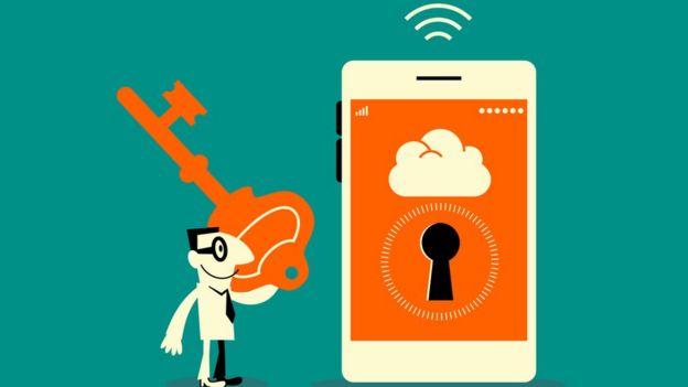 Dibujo de teléfono celular con cerradura y hombre con llave