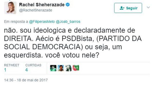 Reprodução de tuíte de Rachel Sheherazade em que ela sustenta a opinião de que o PSDB é de esquerda