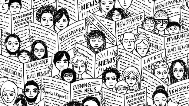 Ilustração mostra pessoas lendo jornais
