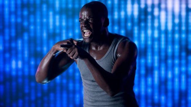 Daniel Kaluuya acting in Black Mirror's Fifteen Million Merits