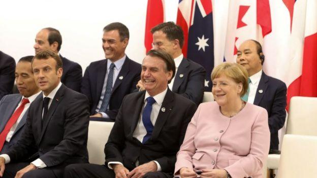 Bolsonaro, Macron e Angela Merkel