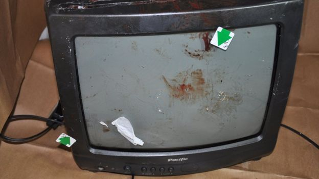 tv with blood on it