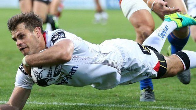 Ulster's Louis Ludik scores the opening try at the Kingspan Stadium