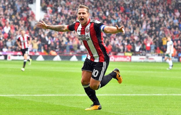 Billy Sharp after scoring in the match against Derby County
