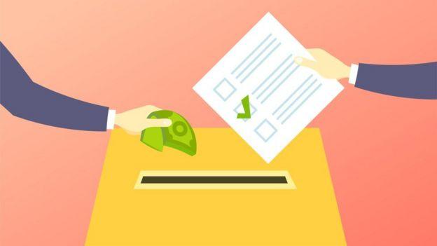 Ilustração mostra braços depositando cédula de dinheiro e cédula de votação em uma urna