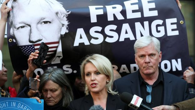 Assange's lawyer Jennifer Robinson and Wikileaks editor-in-chief Kristinn Hrafnsson