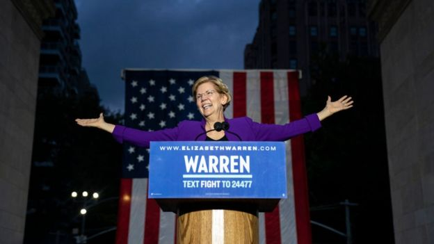 2020 Democratic presidential candidate Elizabeth Warren speaks during a rally in Washington Square Park on 16 September, 2019