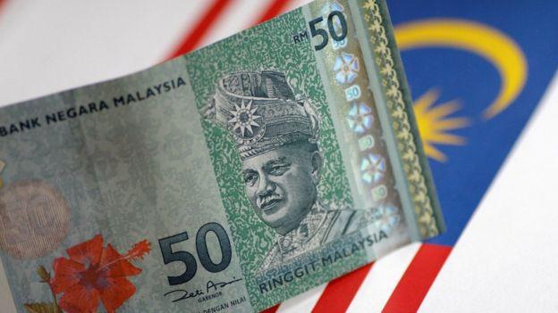 馬來西亞令吉鈔票與國旗
