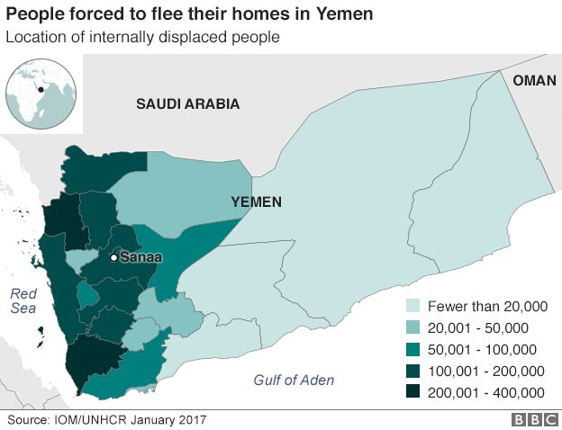 Map showing location of internally displaced people in Yemen