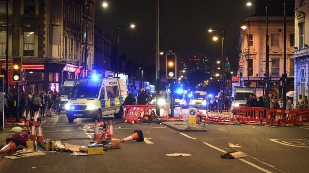 La escena de la protesta en Hackney