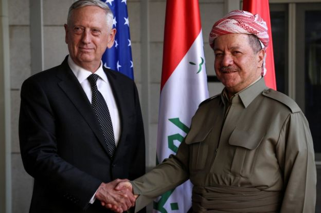 Mesud Barzani, 22 Ağustos'ta Erbil'de ABD Savunma Bakanı James Mattis ile görüşmüştü.