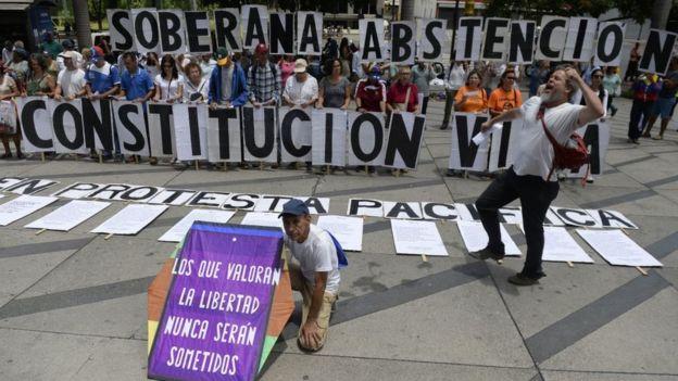 Manifestación de la oposición en Venezuela.