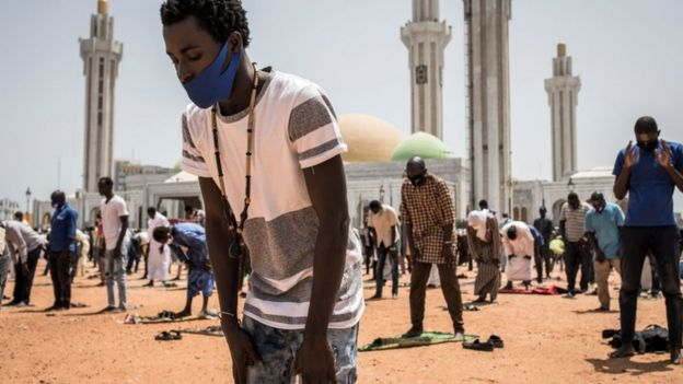 Muslim worshippers outside a mosque in Dakar, Senegal - Friday 15 May 2021