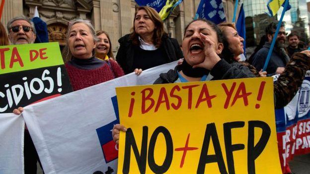 Protesto em Santiago