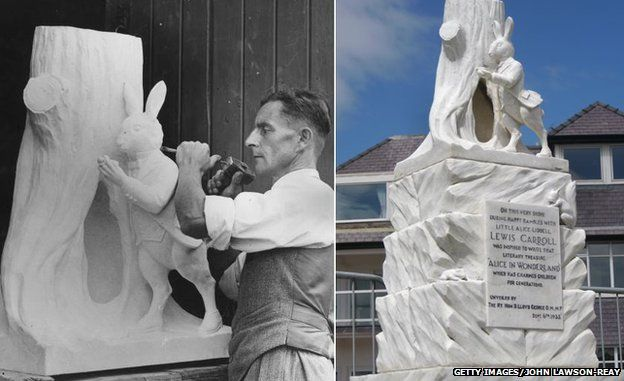 Sculptor FW Forrester makes the Llandudno statue, and the statue today