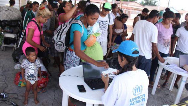 Venezuelanos em abrigo de Nova Canaã