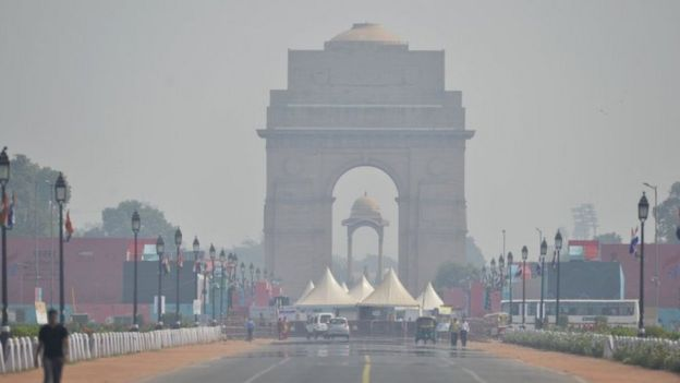 The India Gate in Delhi with a lot of smog