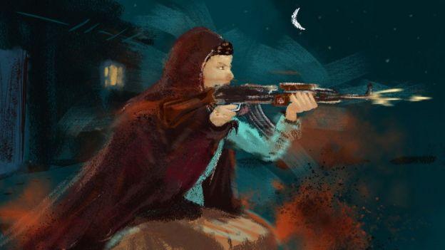 Una ilustración de Nooria con un AK-47