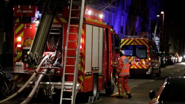 A fire engine at the scene of the blaze in Paris, France. Photo: 5 February 2019