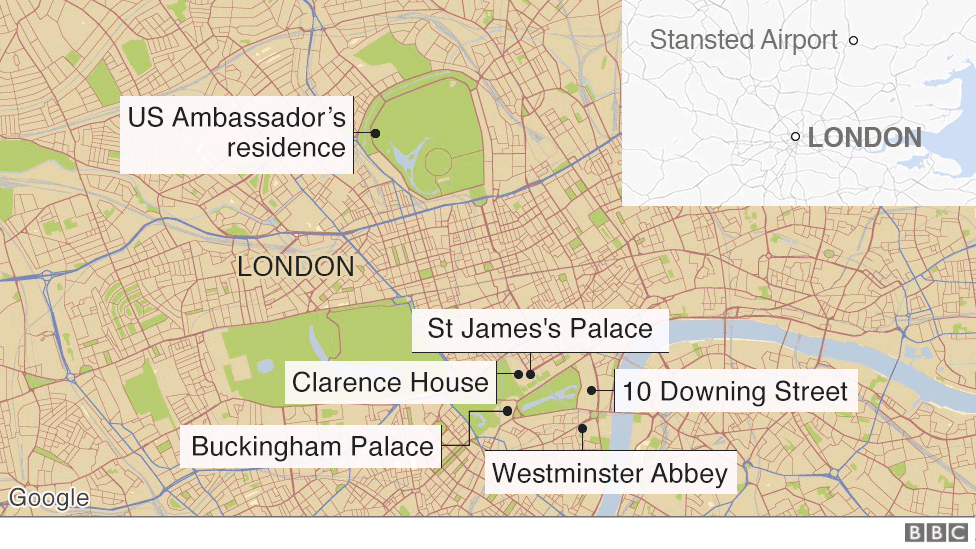 Map showing key locations for Mr Trump's visit