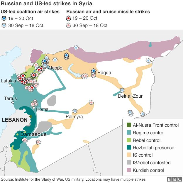 Map showing Russia and US-led coalition air strikes - 22 October 2015