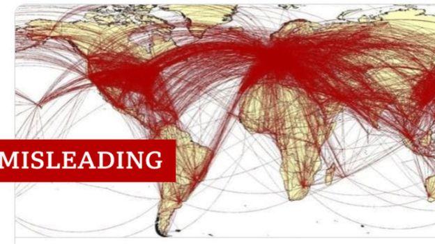 خريطة بمسارات الخطوط الجوية حول العالم تم استخدامها بشكل خاطئ للتدليل على تفشي فيروس كورونا