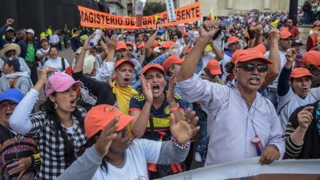 Protesta laboral en Colombia.