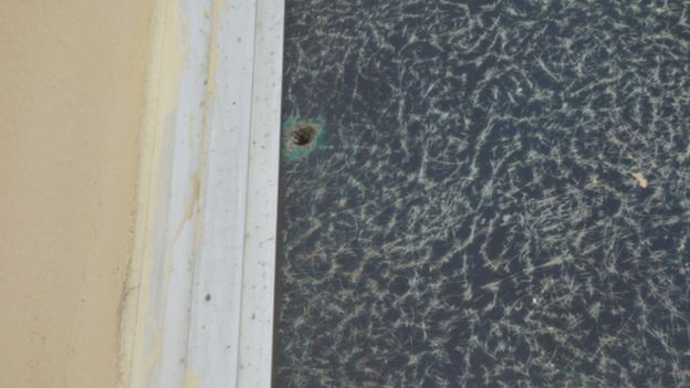 Bullet holes on St Peter's Lutheran Church in Monrovia