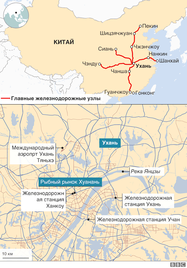 карта Ухани