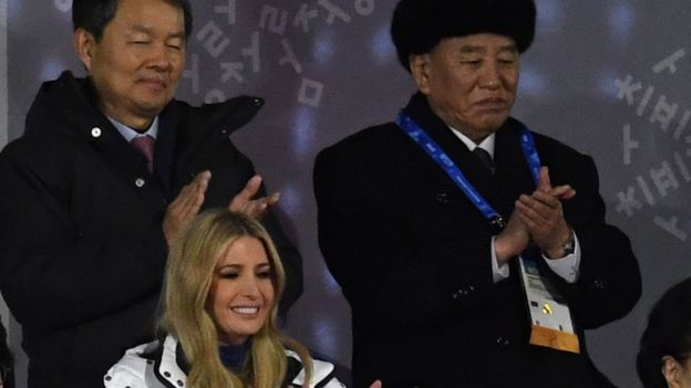 Ivanka Trump (bottom L) and General Kim Yong Chol (back R) attend the closing ceremony of the Pyeongchang 2018 Winter Olympic Games, 25 February 2018