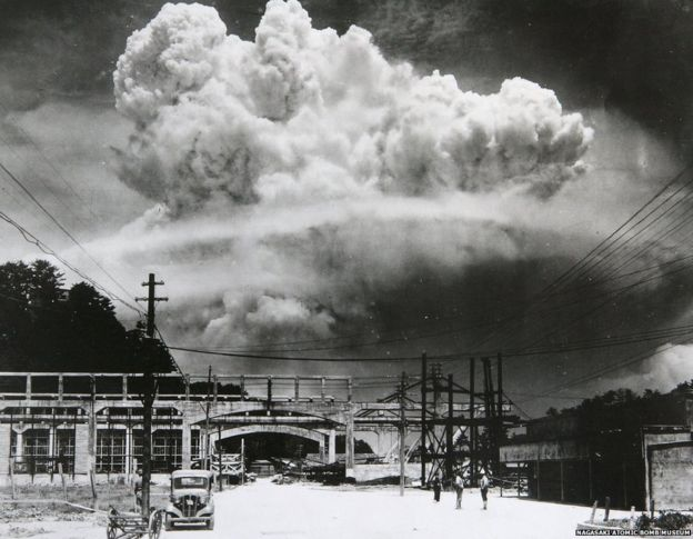 View Of The Radioactive Plume From Bomb Dropped On Nagasaki City As Seen