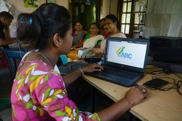 Indian worker of National Register of Citizens (NRC) office checks different documents which were submitted by people for NRC ahead of the release of the final draft of NRC in Guwahati, Assam, India, 26 August 2019.