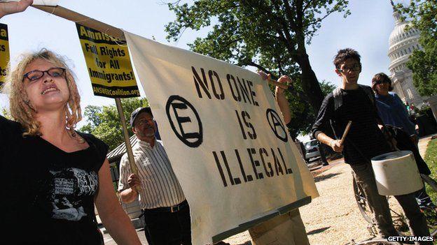 Pro-immigration protestors in Washington, DC