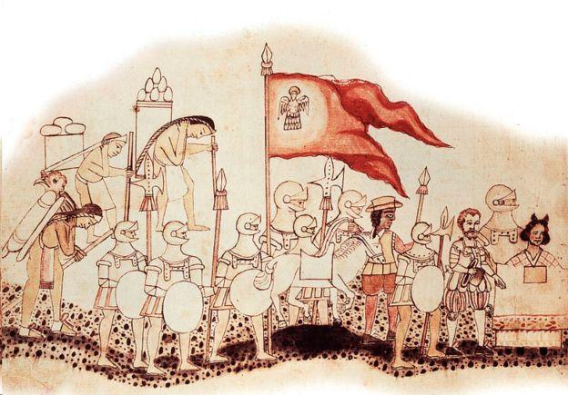 La Malinche en una ilustración de una caravana conquistadora