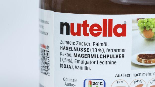 Nutella contents list