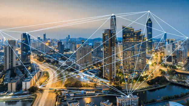 Ciudad china con conexiones tecnológicas