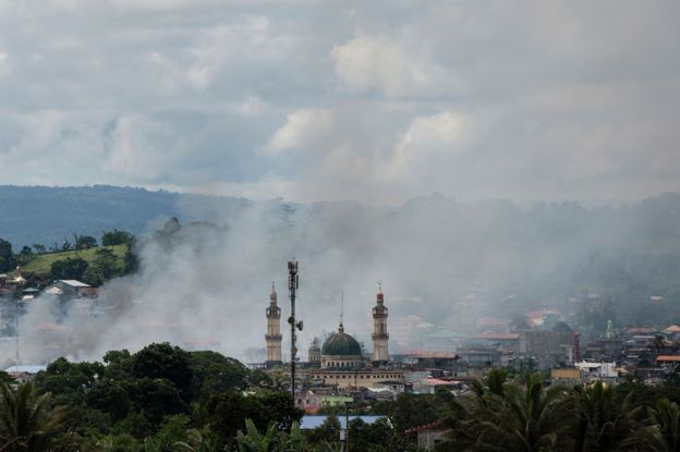 Grand mosque in Marawi, under fire in June 2017