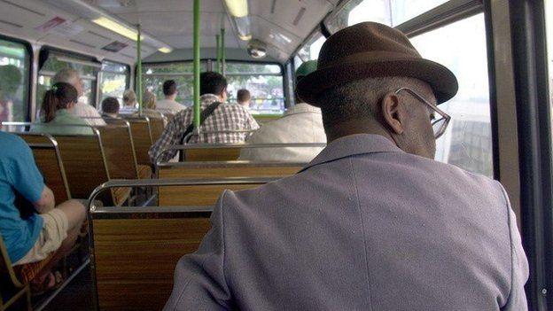 A man on a bus