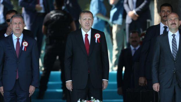Arşiv fotoğrafı: Hulusi Akar, Cumhurbaşkanı Erdoğan ve Süleyman Soylu