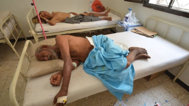 People infected with cholera lie on beds at a hospital in the Red Sea port city of Hodeidah, Yemen May 14, 2017