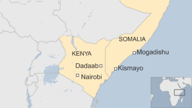 Map Showing Dadaab In North East Kenya And Kismayo In South East Somalia