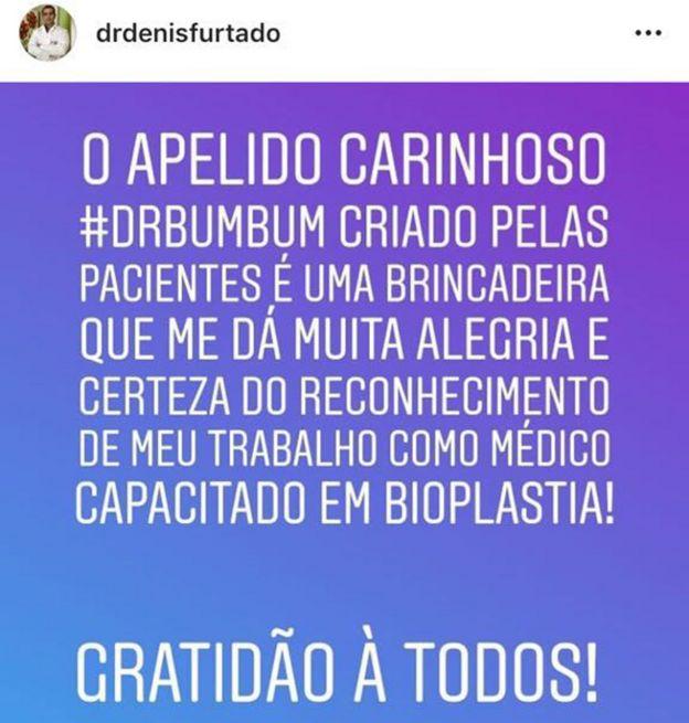 Post no instagram de Furtado em que ele escreve que ganhou o apelido doutor bumbum das pacientes