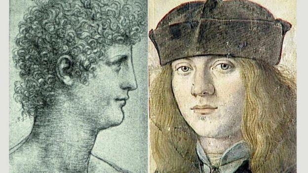 Ilustrações de Gian Giacomo Caprotti (esq.) e Francesco Melzi (dir.)