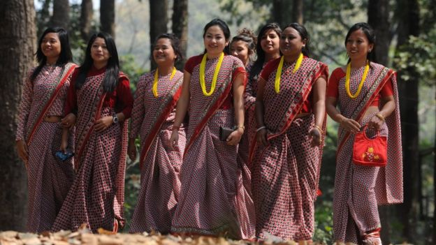 A group of Indian women on their way to West Bengal