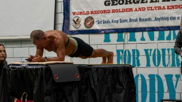Hood during the plank world record attempt