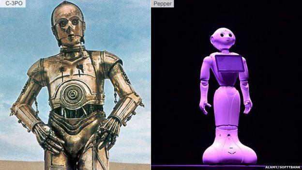 《星球大戰》里的機器人C-3PO(左),日本軟銀公司研製的機器人