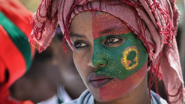 A woman takes part in celebrations for the return of the formerly banned anti-government group the Oromo Liberation Front (OLF) at Mesquel Square in Addis Ababa, Ethiopia, on September 15, 2018