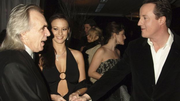 Peter Stringfellow, Bella Wright and David Cameron attend the Conservative Party Black & White Ball
