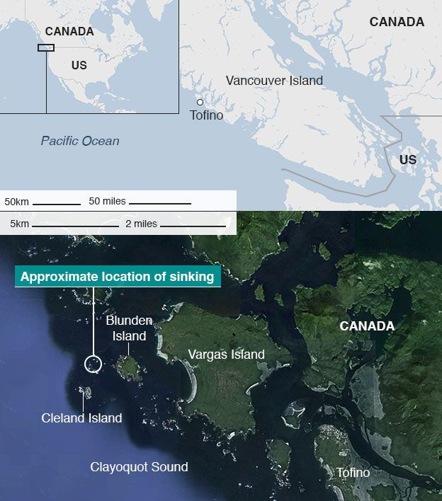 Map of accident area, Vancouver Island, Canada